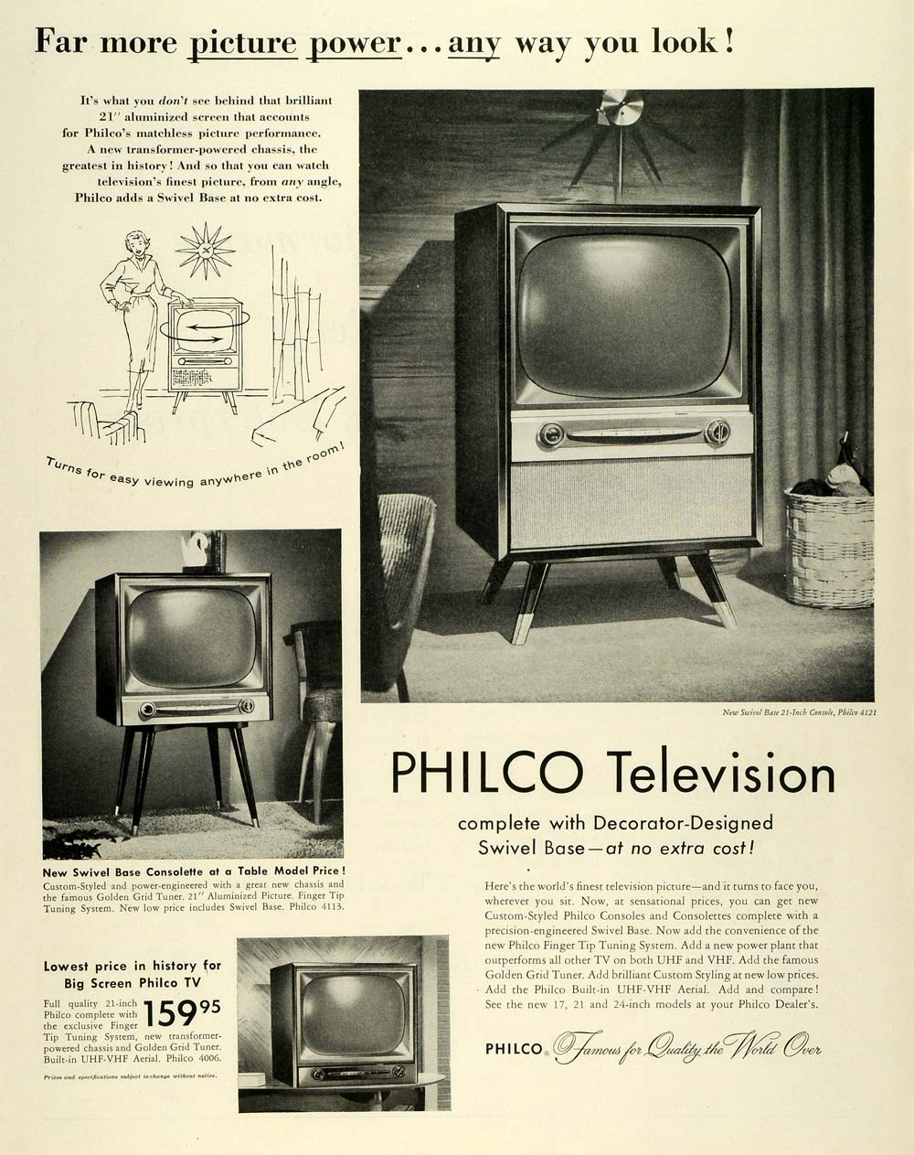 1955 Ad Philco Television Swivel Base Consolette Table Model Antique Applianc -> Model Table Tele