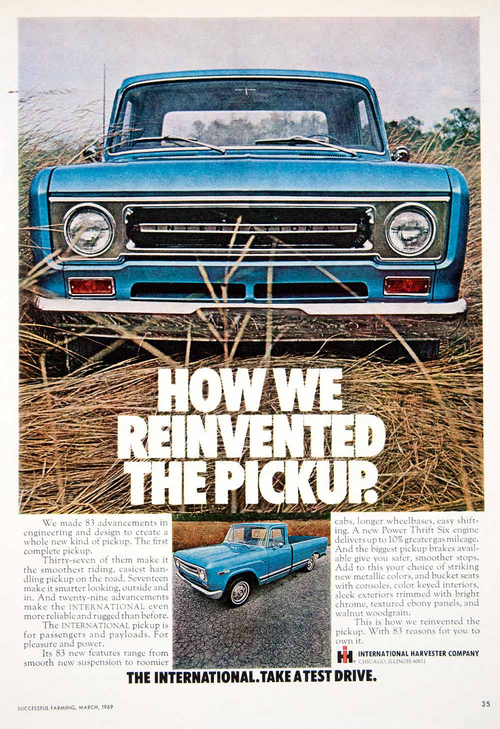 1969 Ad International Harvester Pickup Truck Transportation Motor Vehicle Engine