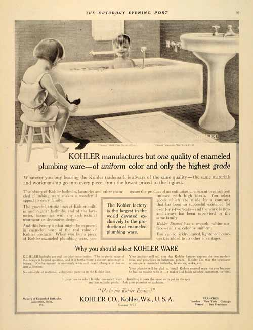 1915 ad kohler bathroom bath enameling sink children ebay for 1915 bathroom photos