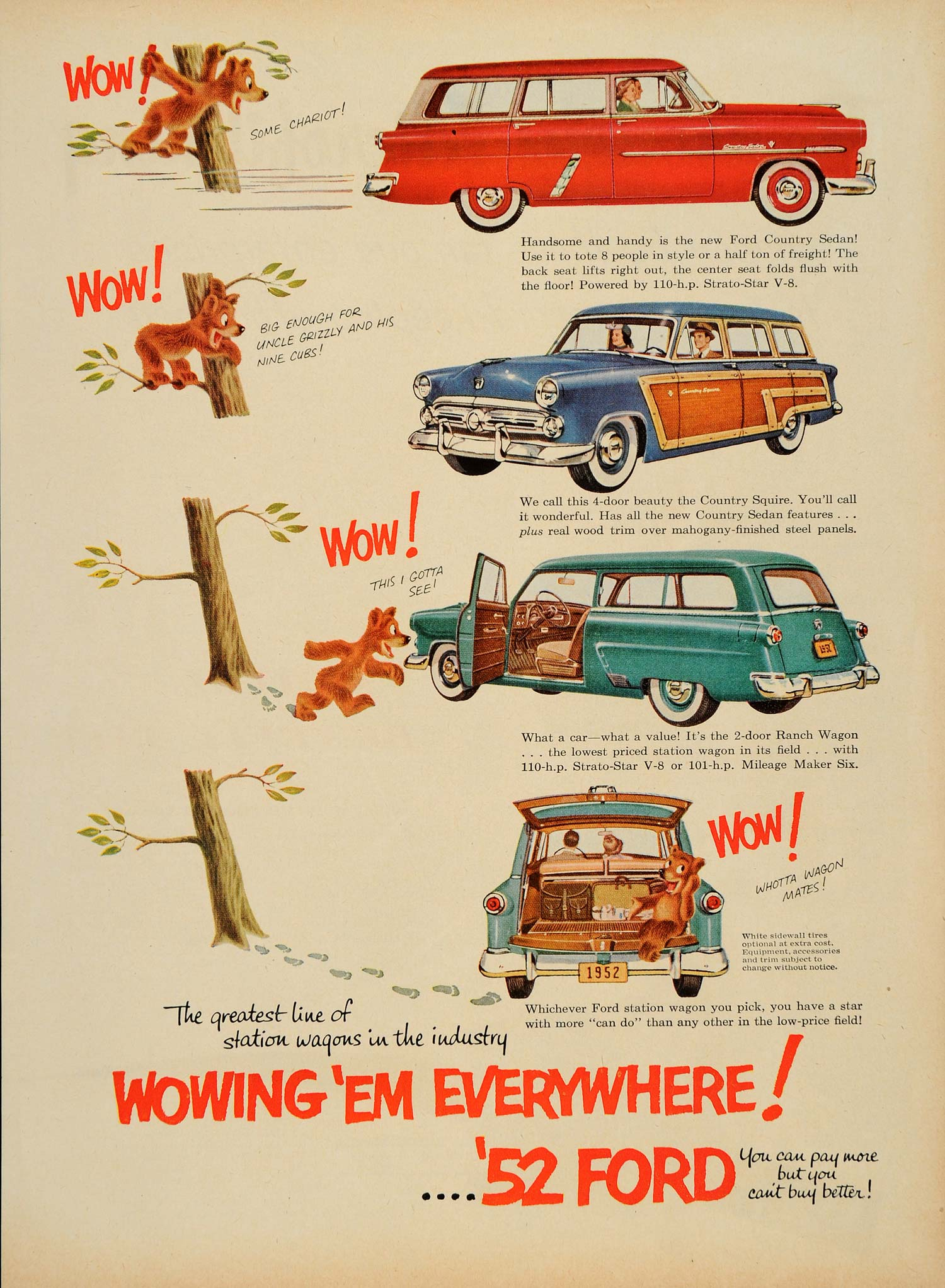 1952 Ad Ford Country Sedan Squire Station Wagons V8