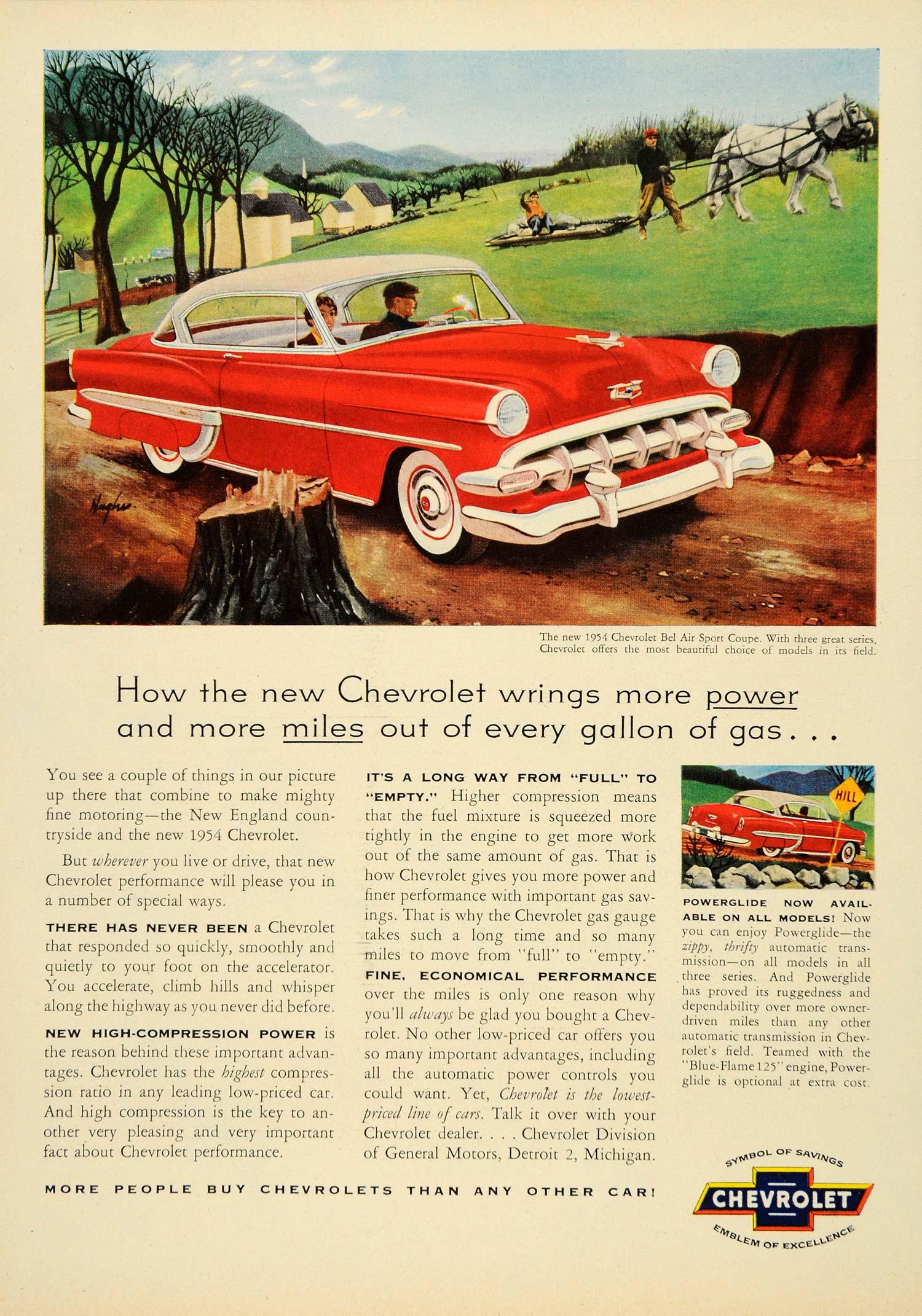 1954 Ad Vintage Chevrolet Bel Air Sport Coupe Detroit