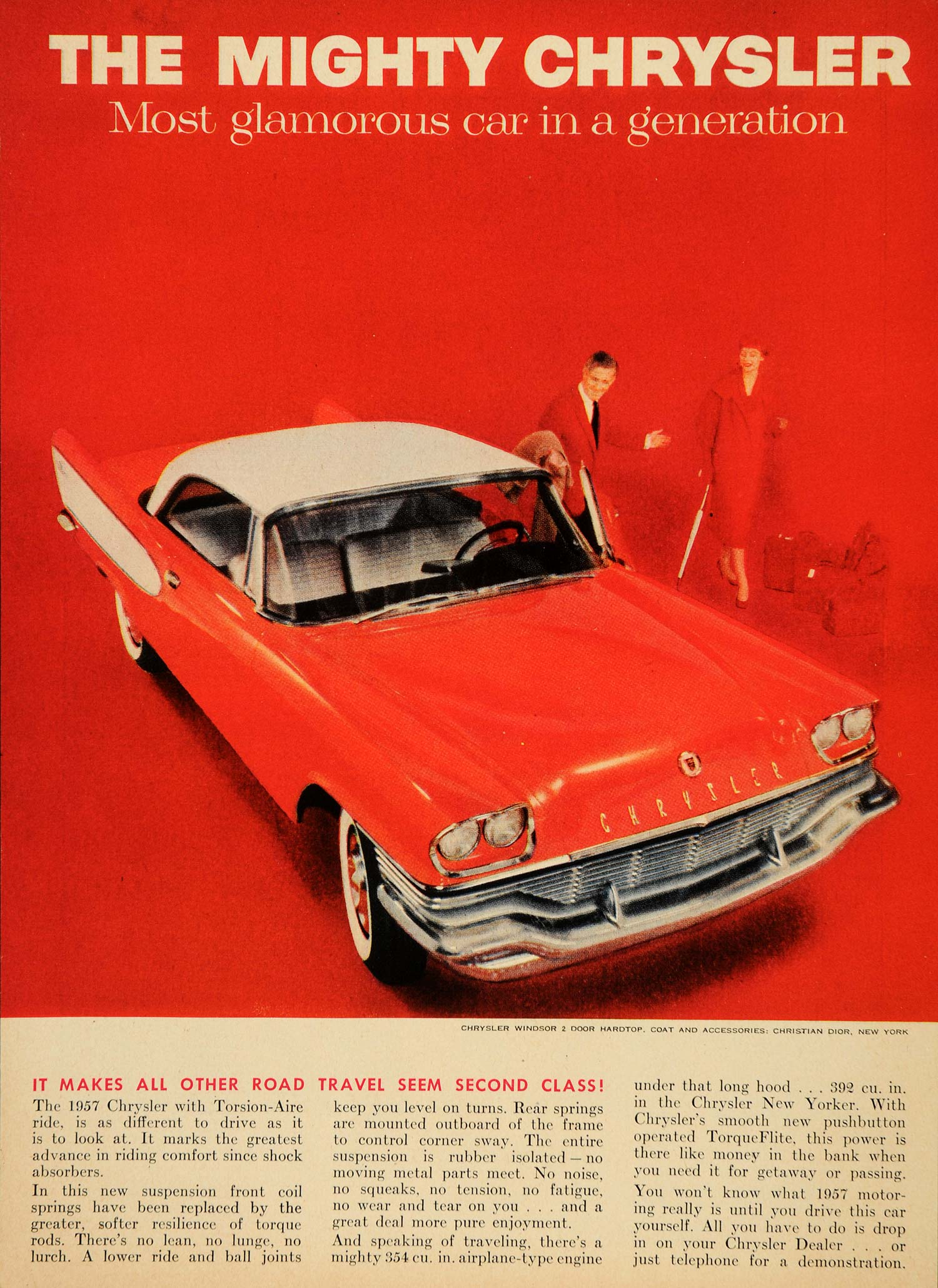 1957 Ad Chrysler Windsor Two Door Hardtop Convertible