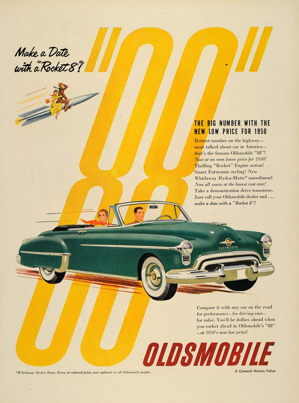 1950 Ad Oldsmobile 88 Rocket Vintage Hydra-Matic Drive