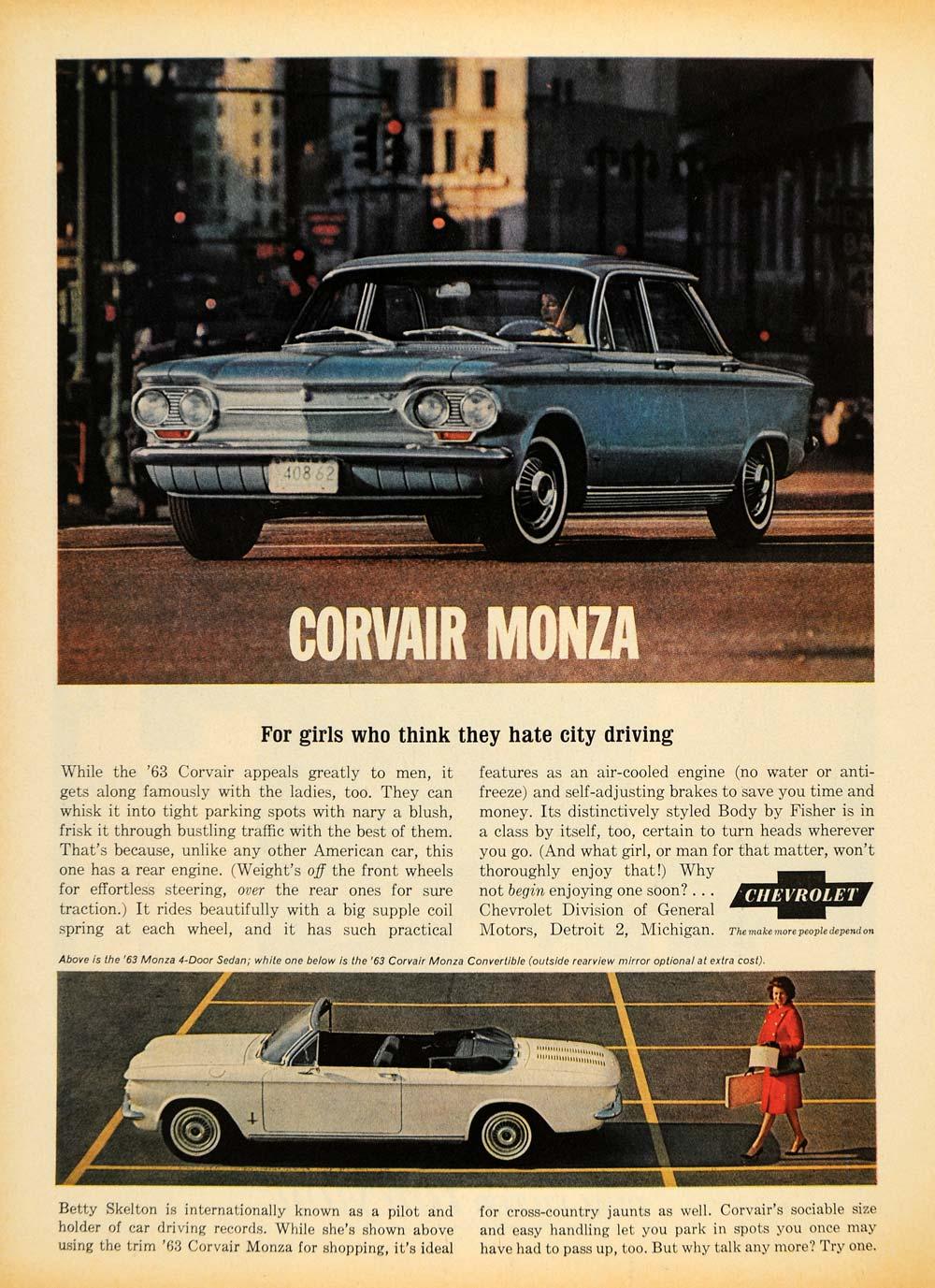 1963 Ad Corvair Monza Car Sedan Convertible Chevrolet