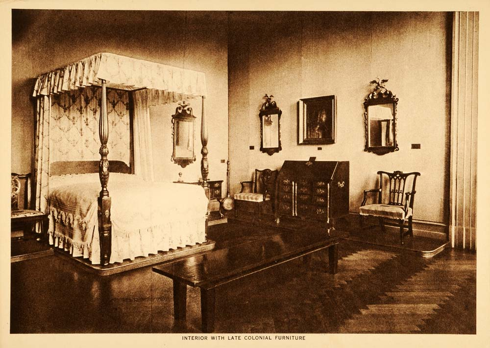 1914 Intaglio Print Colonial Bedroom Furniture Four Poster