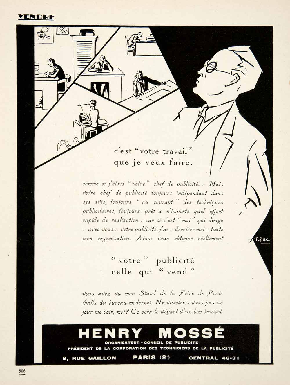 1926 ad henry mosse 8 rue gaillon paris advertising agency for Advertising agency paris