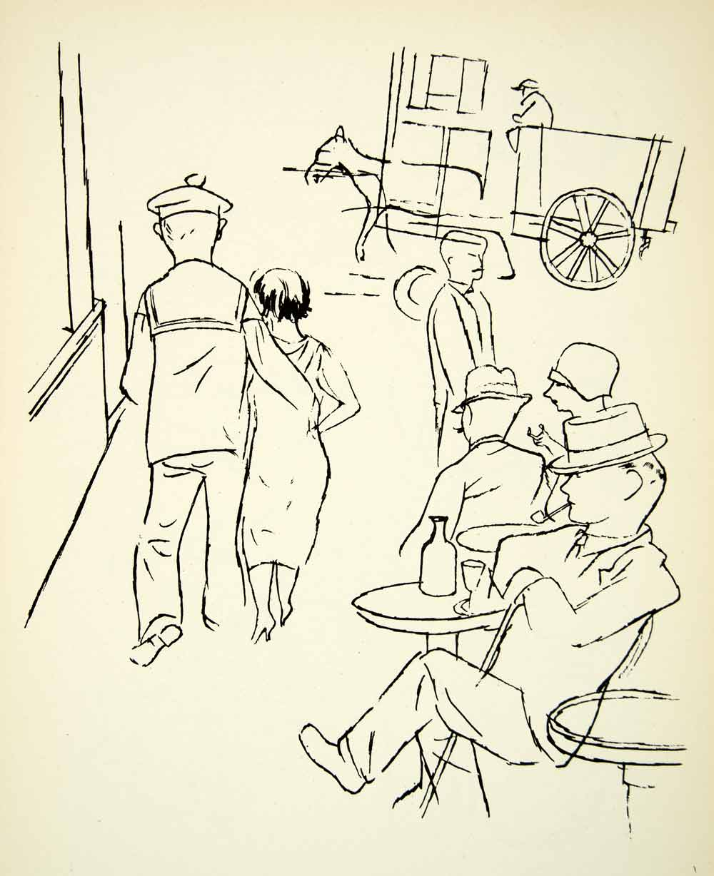 Lithograph Street Scene Seven Days George Grosz Cafe Horse Figures