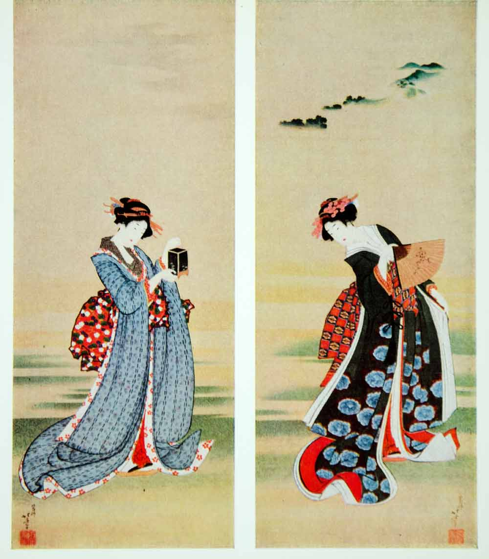 1962 Color Print Hokusai Diptych Two Japanese Beauties ... Hokusai Woman