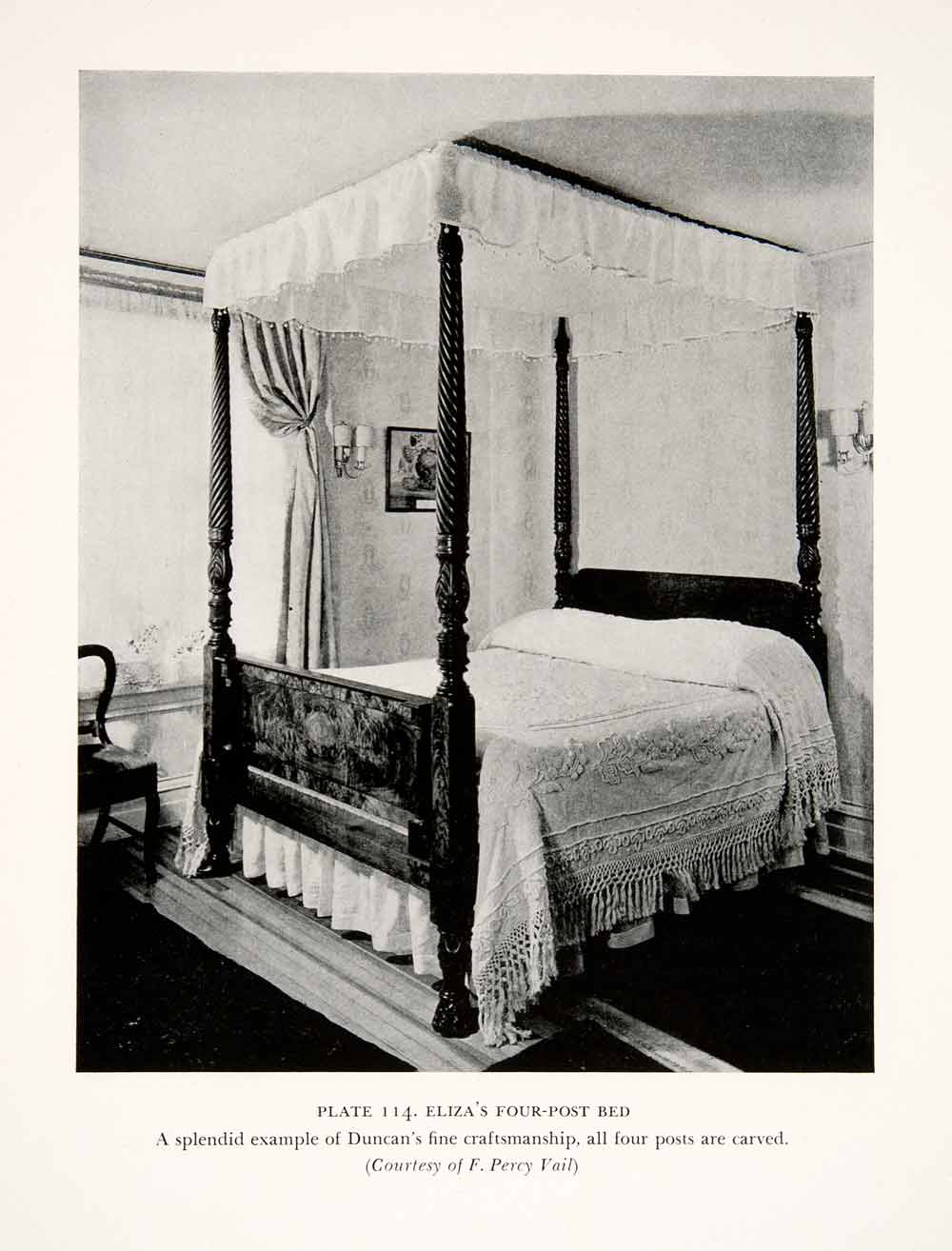 1939 Print Duncan Phyfe Four Poster Canopy Bed Furniture