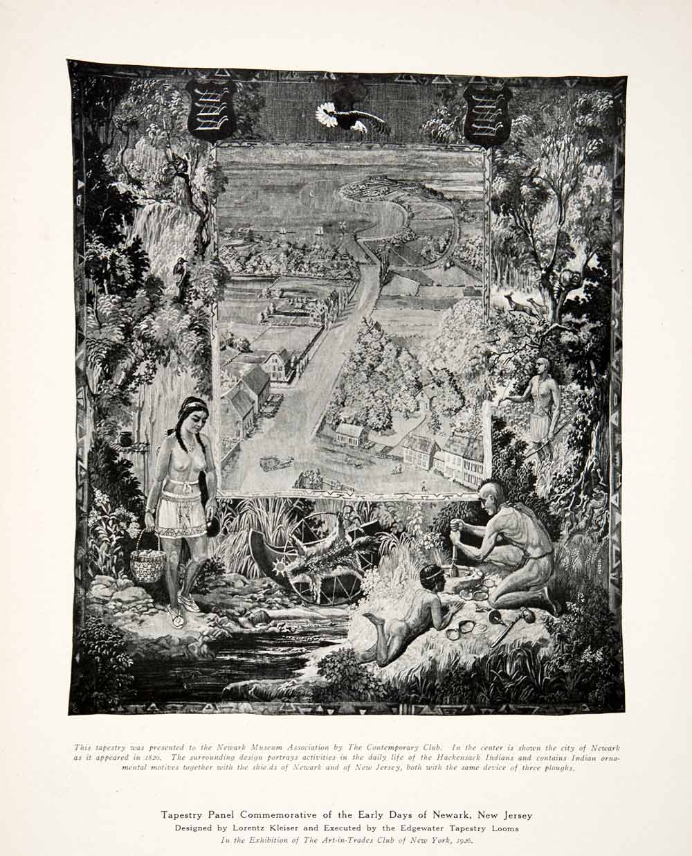 Hackensack Indian Tapestry Scene Newark New Jersey Lorentz Kleiser