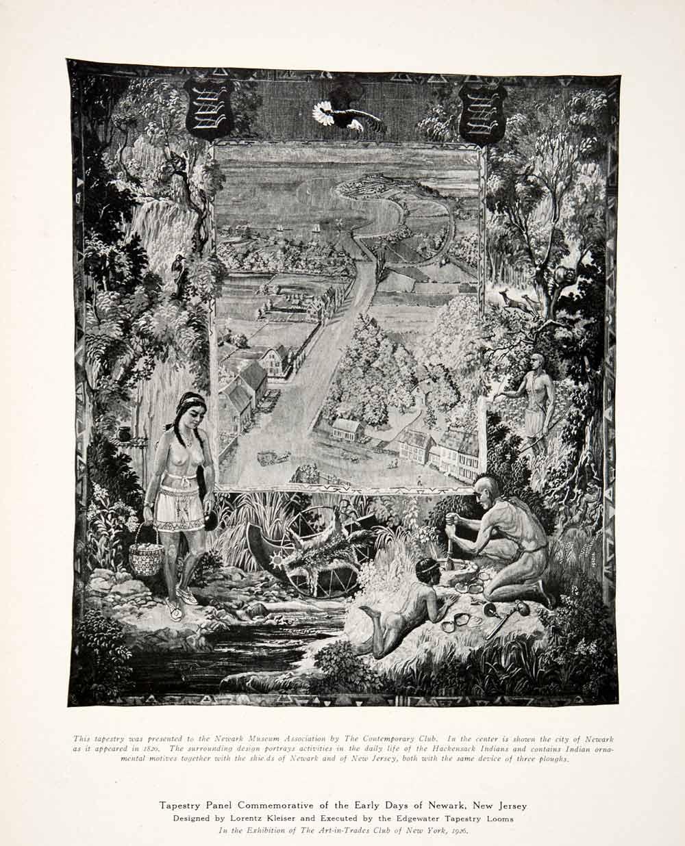 Hackensack Indian Tapestry Scene Newark New Jersey Lorentz Kleiser