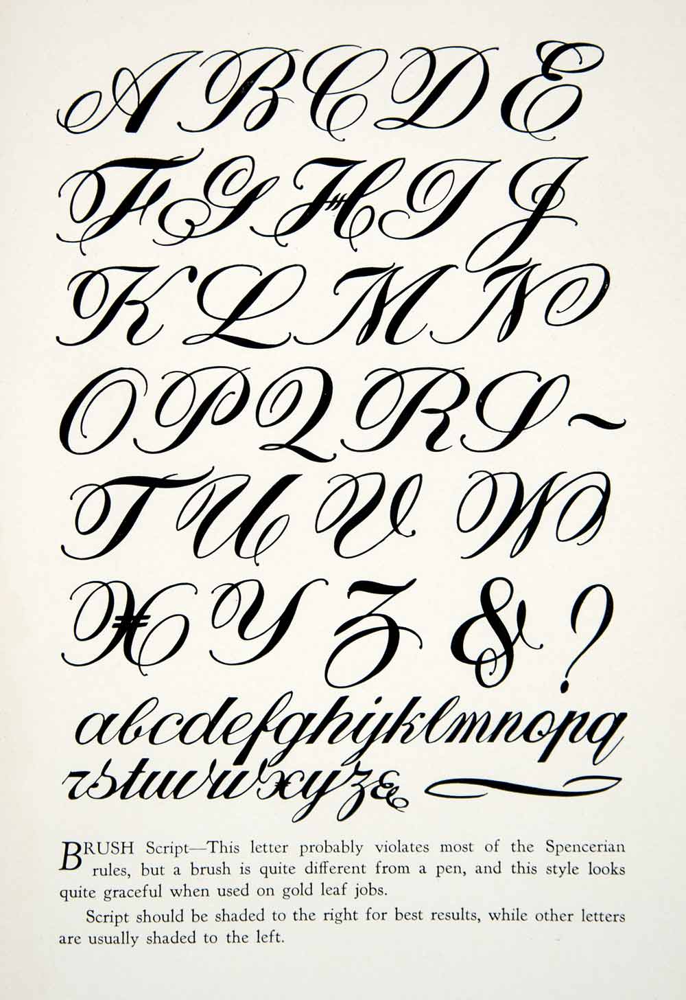 1928 print brush script typeface graphic alphabet Calligraphy text