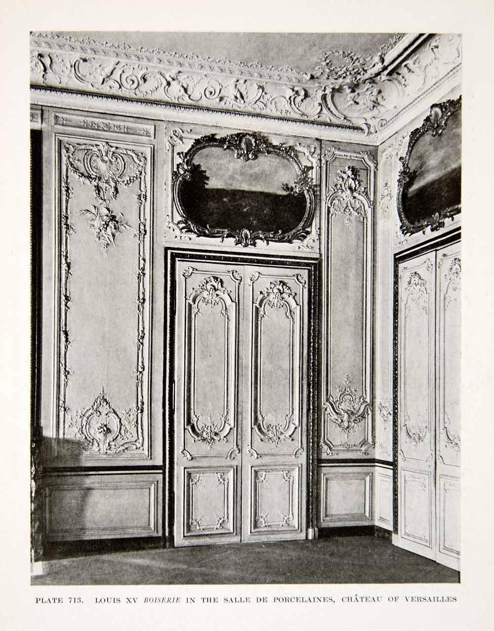 1926 print louis xv boiserie salle porcelaines chateau for Salle de bain louis xv