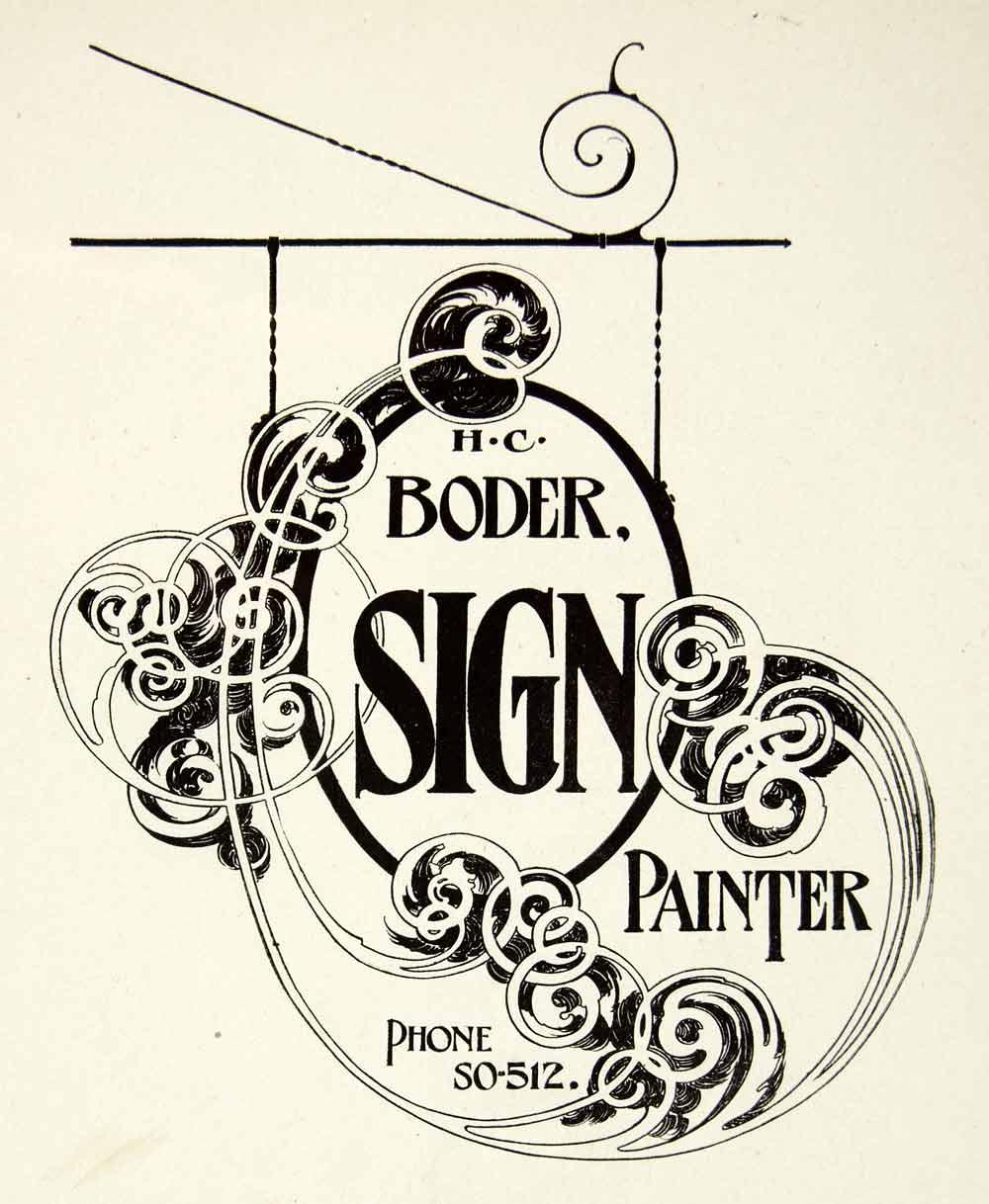 1937 Print Design Sign Cut Out Art Nouveau Scroll