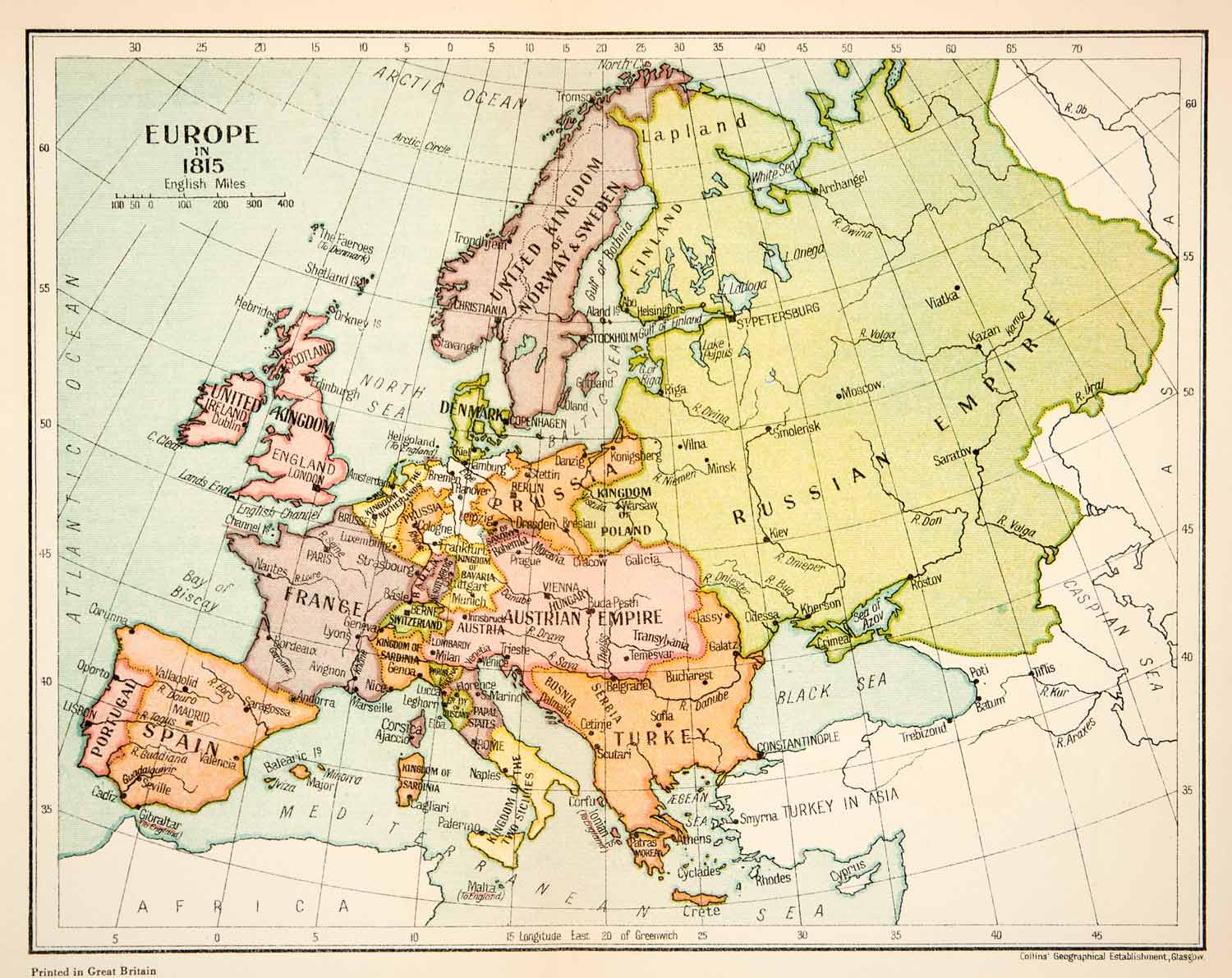 1926 Lithograph Map Europe 1815 Russian Empire France Turkey Spain Portugal