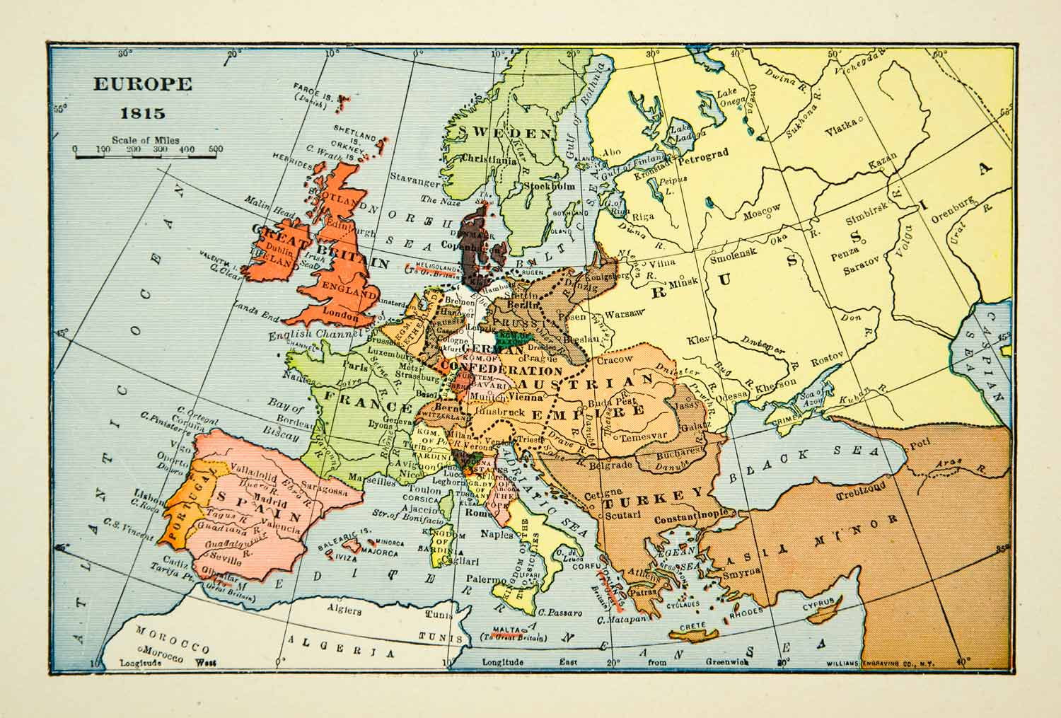 1939 Print Map Europe Turkey Russia France 19th Century Great Britain Sweden