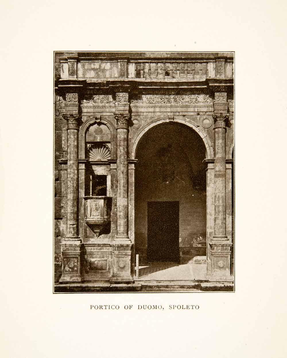 1907 Print Portico Duomo Spoleto Church Cathedral Entryway Arch