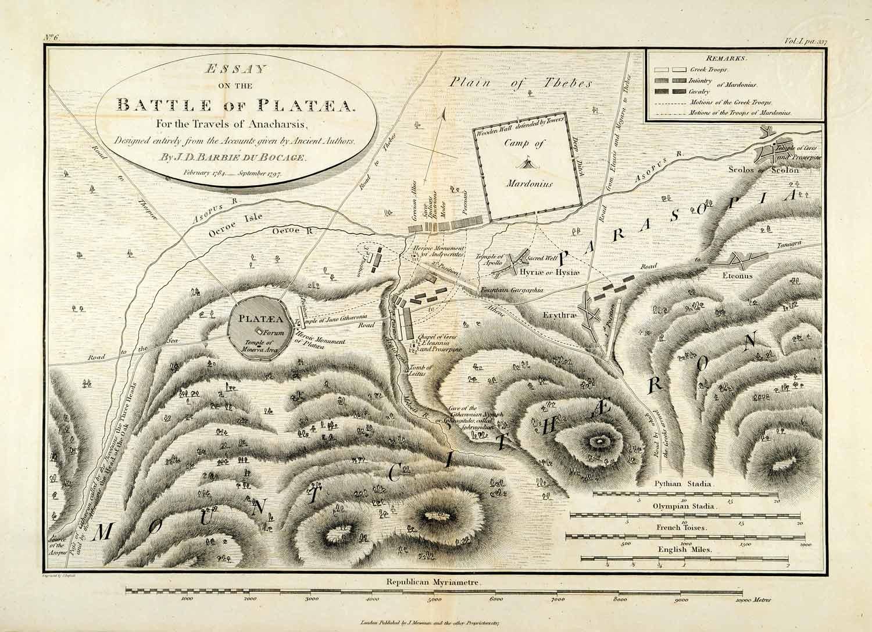 ... Engraving Battle Plataea Anacharsis Parasopia Mardonius Map Greece