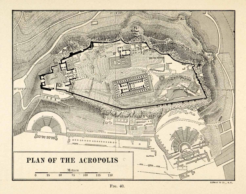 1920 Print Ancient Greece Acropolis Greek Culture City Civic Planning ...