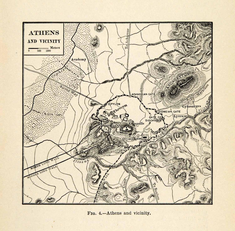 Details about 1920 Print Ancient Athens Greece Map Greek City Civic ...
