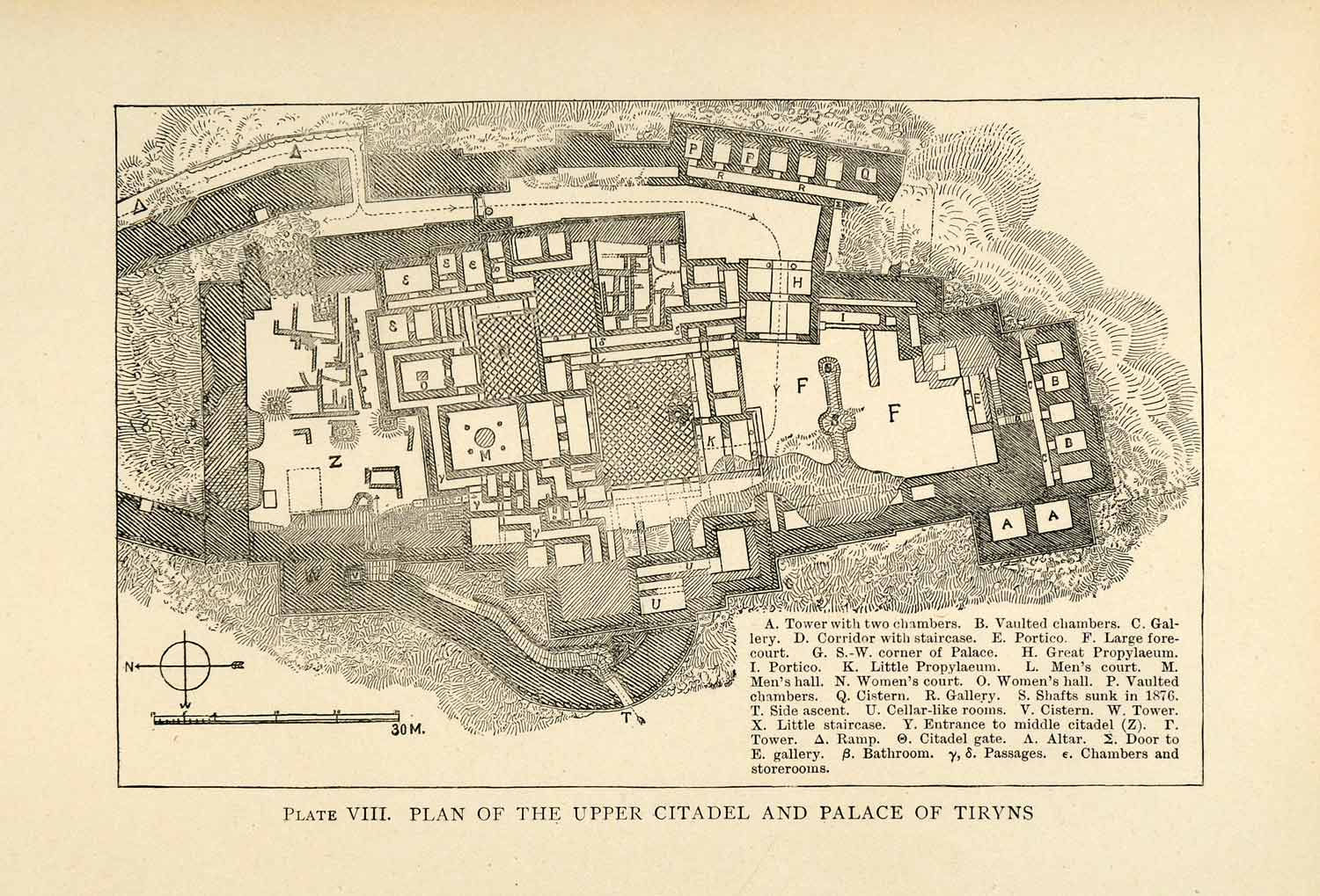 ... Engraving Tiryns Palace Citadel Blueprint Ancient Greek Architecture