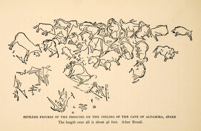 ... Print Cave Painting Altamira Spain Bison Herd Hunt Paleolithic XGX3