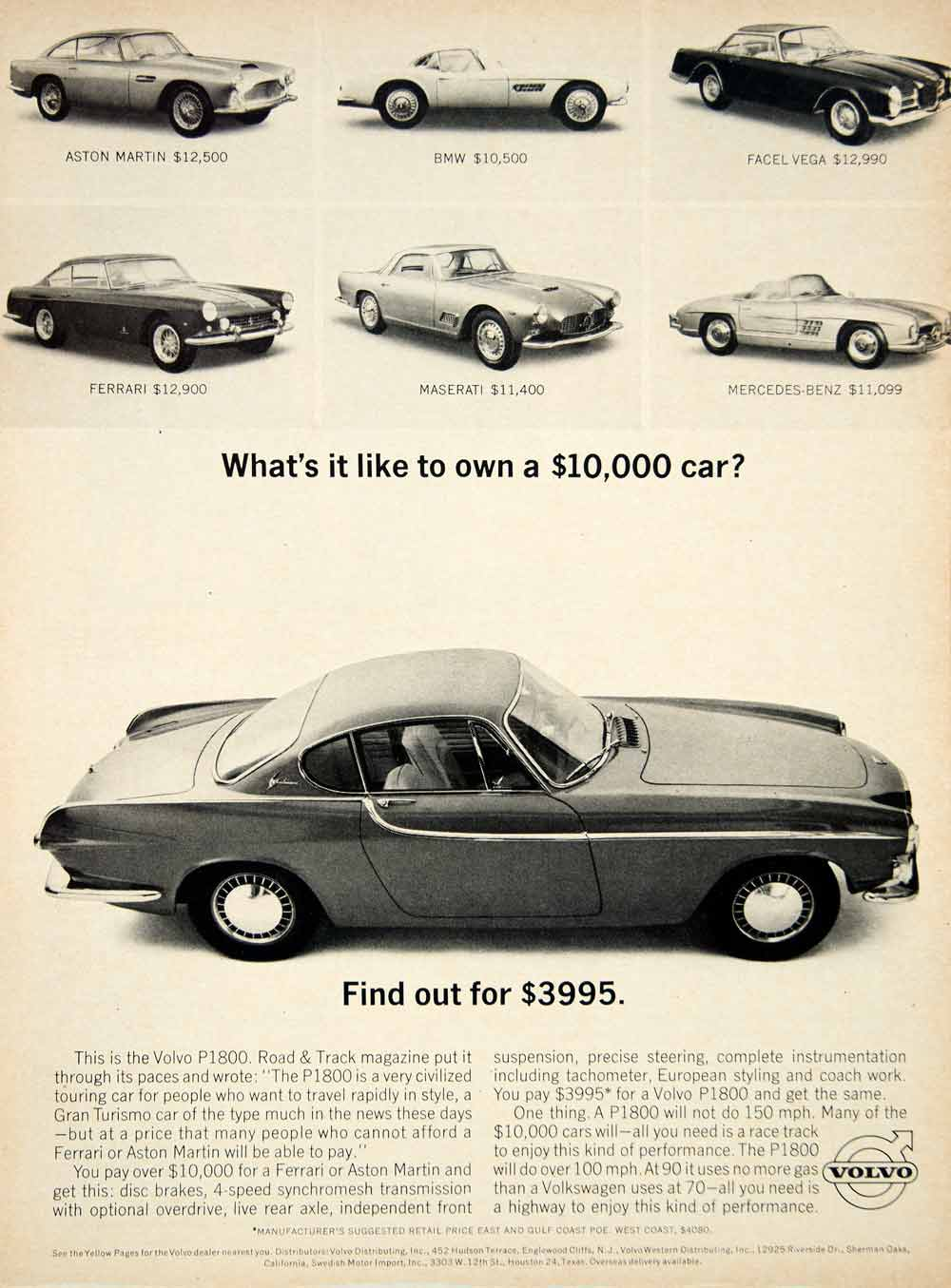 1963 ad volvo p1800 2 door coupe sports car swedish. Black Bedroom Furniture Sets. Home Design Ideas