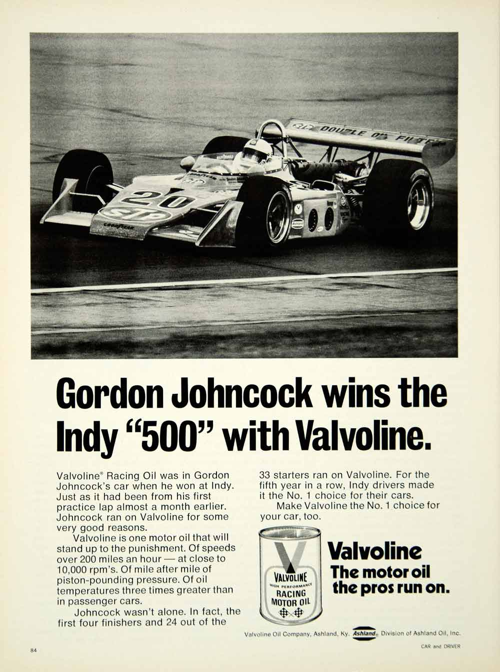 1973 ad valvoline motor oil gordon johncock formula one for Valvoline motor oil certification