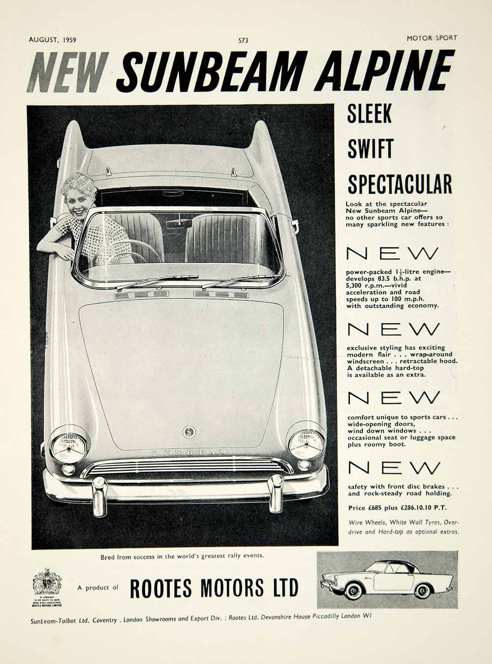 1959 Ad Rootes Motors Sunbeam Alpine Roadster Sports Car