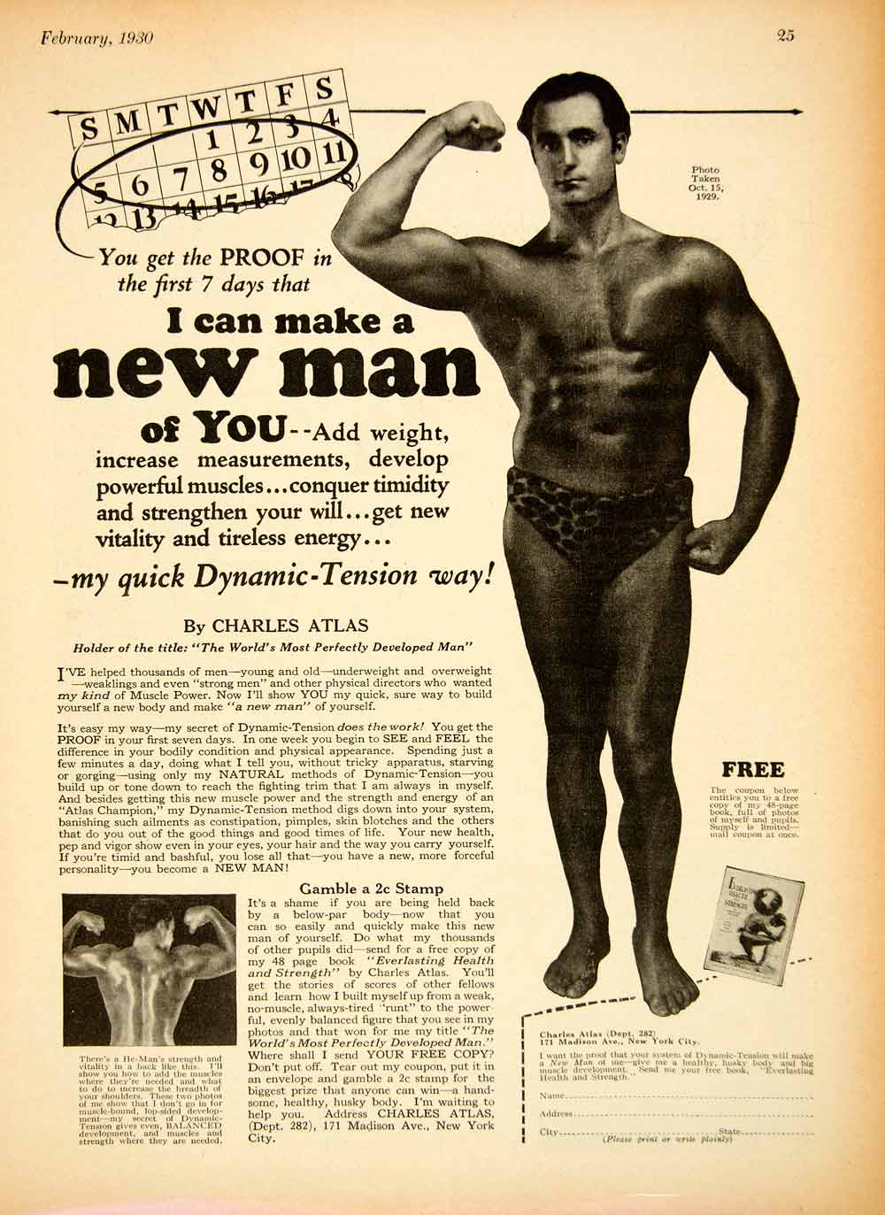 Figure 1  Charles Atlas  quot dynamic tension quot  advertisement Niacin Flush Workout